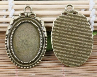 4pcs antiqued bronze tone oval cabochon settings EF2122