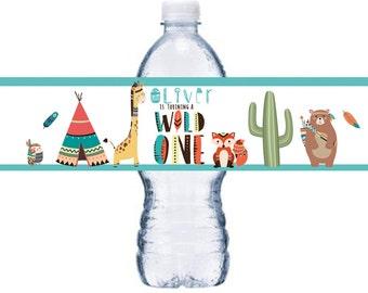 Tribal Bottle Label, Wild One Bottle Label, Brave Little One Bottle Wrap,  BL008