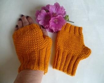 Hand Knitted Fingerless Gloves Women, Texting Clycling Handwarmers, Gold Knitted Wristwarmers, Fingerless Mittens, Clickclackknits