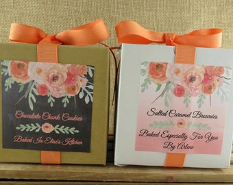 Personalized Bakery Boxes or Cupcake Boxes - Watercolor Floral Coral/Peach Choice of Background - Food Gifting - ANY OCCASION - wfcp