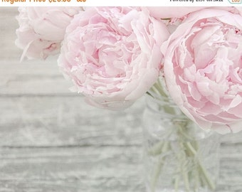 """SALE - Flower Photograph, Pink Peonies in a Vase, Fine Art Photo Print, Nursery Art, Pastel Pink, Gray, Shabby Chic Wall Art """"Spring Wealth"""""""