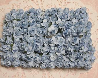 144 Light Blue Paper Roses