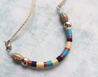 Wrap Necklace  - bib necklace - tribal necklace  -ethnic necklace