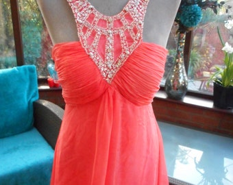 Grecian style pearl beaded rhinestone trimmed chiffon over satin coral Ballgown Bridesmaid prom party uk size 10 usa size 6