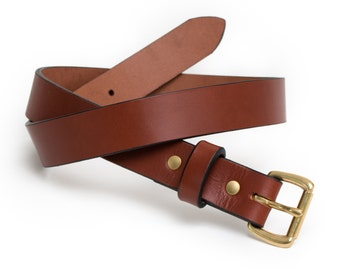 Leather Daily Belt | Chestnut and Brass