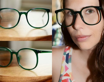 Green Eyeglasses Large Round Oversized 1980s 54/21 NOS mens womens