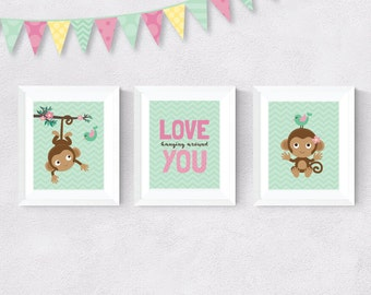 Love Hanging Around You - Monkey and Bird - Green Chevron, Brown and Pink - Nursery Print - Girl Room Decor - Wall Art