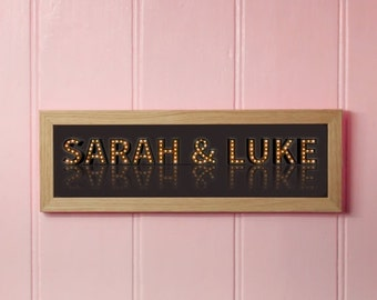 """On Sale.. Huge savings on Personalised Marquee """"Your Names in Lights"""" Framed Print - with FREE UK Delivery - Various Backgrounds"""