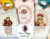 75% OFF SALE A Joyful Christmas Digital Collage Sheet set of 12 hang tags Scrapbooking Digital collage digital download
