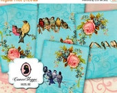 75% OFF SALE ENCHANTED Birds 01 Digital Collage Sheet Digital Aceo Scrapbooking Digital download