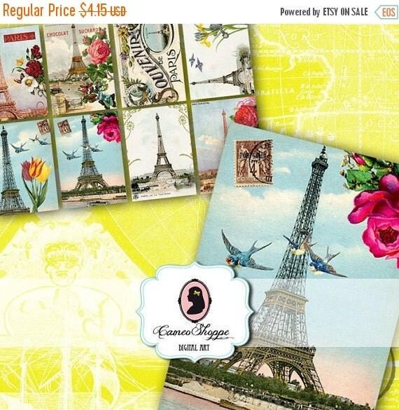 75% OFF SALE LA Tour Eiffel Digital Collage Sheet set of 8 Atc cards or Tags Digital Download