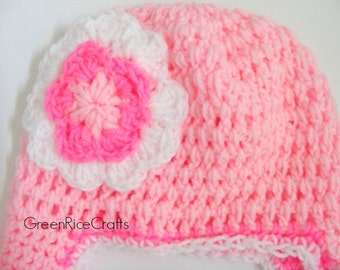 Shades of Pink EarFlap Beanie Hat for Babies, Toddlers and Kids