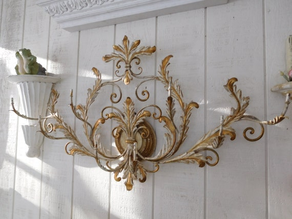 Metal Wall Decor Etsy : Items similar to shabby metal toleware wall decor jewelry