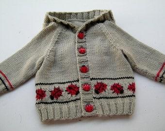 Hand knitted ladybug hoodie newborn