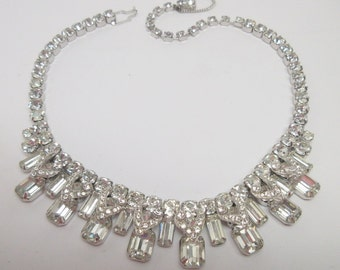 Gorgeous Weiss Vintage Rhinestone Necklace         MINT      Art Deco   Bridal