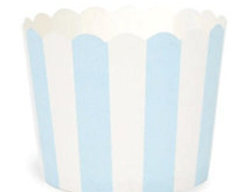BAKING CUPS - Light Blue and White Stripe - Set of 25 : The Paper Doll