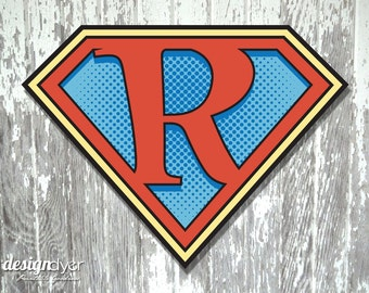 "Superhero Initial ""R"" Sign Large 26""X20"" DIY Printable Instant Download"