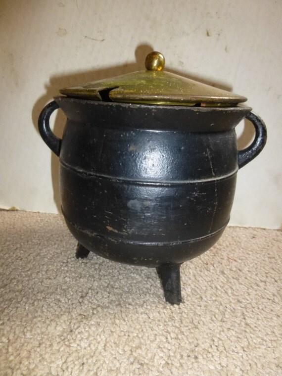 Black Cast Iron 3 legged Smudge Pot Cauldron with Brass