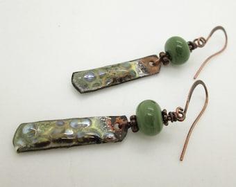 Green Boho Dangle Earrings, Torch Fired Enamel Copper Earrings, Rustic Earrings