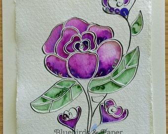 Purple Rose floral papercut mixed media original art
