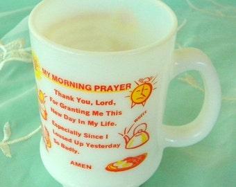 End of Summer Sale Milk Glass Mug, My Morning Prayer, Vintage Item, Retro, Kitsch, Breakfast Mug, Rooster, Toaster, Eggs, Alarm Clock