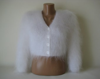 Made to Order ! New Hand Knitted Mohair Sweater Bolero Shrug size M White