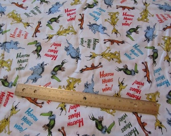 White Dr Seuss Horton Hears a Who Cotton Fabric by the Yard