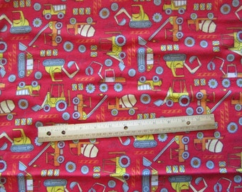 Red Construction/Dozer/Truck Flannel Fabric by the Yard
