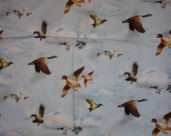 Ducks/Geese Flying in Clouds Cotton Fabric by the Yard
