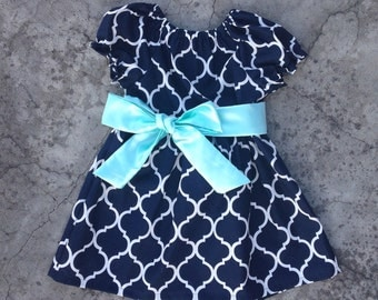 Baby girl clothes, toddler girl clothes Navy quatrefoil and mint dress, baby girl dresses, toddler girl dress, baby girl summer clothes