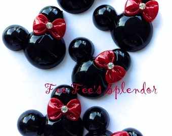 2 pc -Minnie Mouse inspired Mouse Flatback resin- Mouse cabochon- w/ RED bow * Hair bow center *