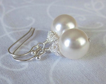 Pearl Drop Bridal Earrings, White or Ivory Pearl Earrings For the Bride, Mother of the Bride Glamorous Pearl and Sterling Silver Brides Gift