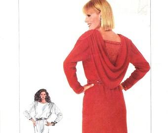 Simplicity Dress Pattern 7217 - Misses' Blouson Side Slit Dress with Shoulder Gathered Back Drape - Sz 18/20/22