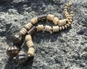 Vintage 70s Chunky Bold BONE METAL Beaded Necklace Statement Handcrafted Jewelry Boho Hippie Gypsy