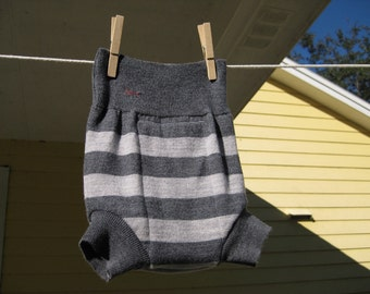 Grey Striped Merino Wool Diaper Cover Shorties size 6-12 months