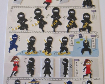 "SALE  Stickers From Kamio Japan Series Featuring ""Ninja"". Printed on textured paper with gold accents"