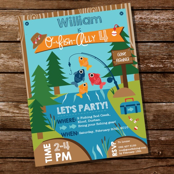 Fishing invitation fishing invite gone fishing party for Fishing birthday party invitations