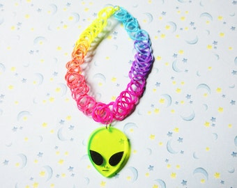 Opaque Rainbow Alien Acrylic Charm 90's Tattoo Choker, Solid Rainbow