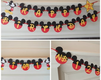 """Mickey Mouse 1st Birthday Party Pack Happy Birthday Banner with Age Custom Name Option / Photo Banner / """"I AM 1"""" by FeistyFarmersWife"""