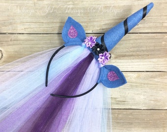 LUNA UNICORN HORN Princess Pony Headband w/ tulle veil, mlp character, nightmare moon, cosplay, hair accessory, girls, toddler, adult