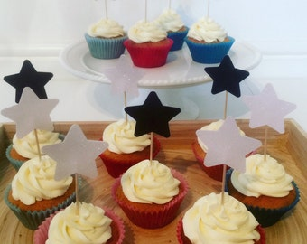 Star cupcake toppers. Perfect addition to your celebrations. Other colour choices available....