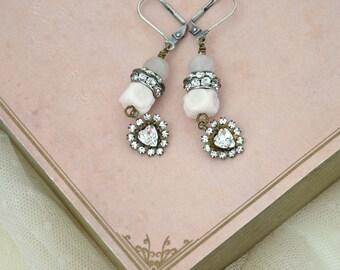 Heart Ear Drops / Sparkly Earrings / Vintage Earrings