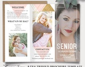 Senior Photography Guide, Trifold Brochure Photoshop Template, Client Welcome Guide, Flyer, Senior Pricing Guide, Price List sku sen16-1