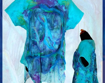 SALE !!! Handmade Nuno Felted Silk Wool Blue Turquoise Tunic Wearable Art