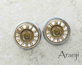 Glass dome clock earrings, vintage clock earrings, clock earrings, watch earrings, clock posts, clock stud earrings HG151E
