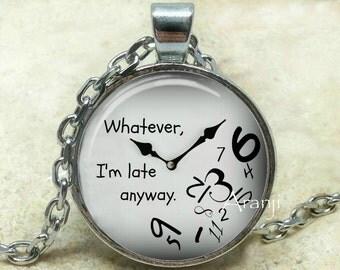 Late clock art pendant, late clock necklace, clock jewelry, clock art necklace, funny clock pendant, fun clock, tardiness Pendant#HG102P