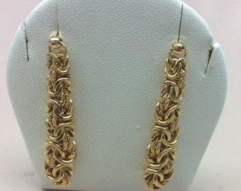 Reserved Do not buy14kt Yellow Gold Dangle Earrings Bryzantine Pattern