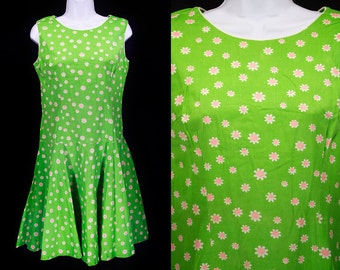 Vintage 60's Green & Pink Floral Patterned Drop Waist Dress S