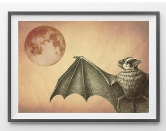Halloween Print Poster Bat  at night Mixed Media Digital Collage Altered Antique Image