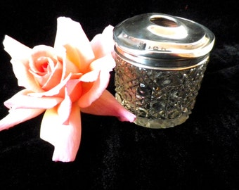 Hair tidy jar, Dressing table pot, vanity jar, sterling silver lid, hobnail cut glass, hallmarked silver, Birmingham 1921